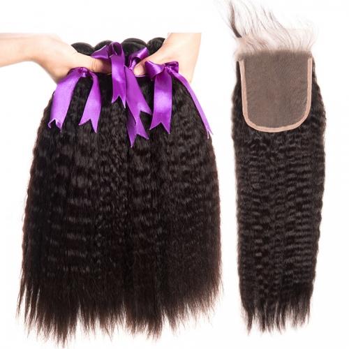 Kinky Straight Hair With Closure Peruvian Yaki Human Hair 3 Bundles With Closure Remy Hair Closure With Bundles 8 30inch Bundles Deal